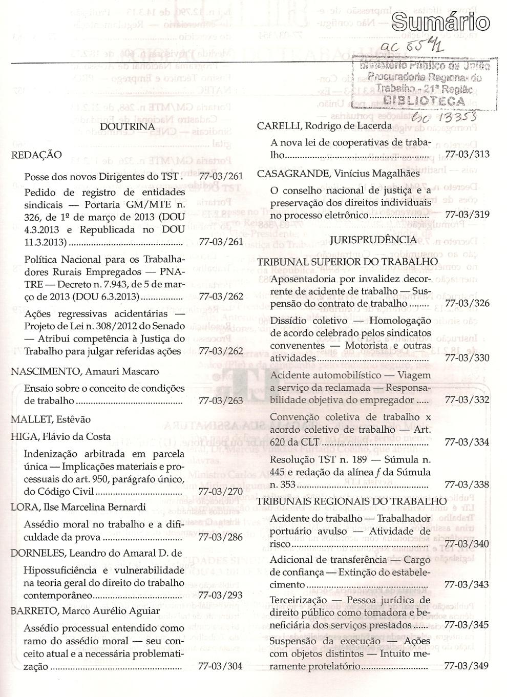 LTr nº 03.20130001