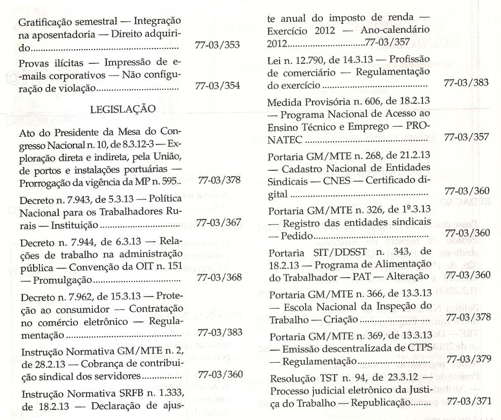 LTr nº 03.20130002