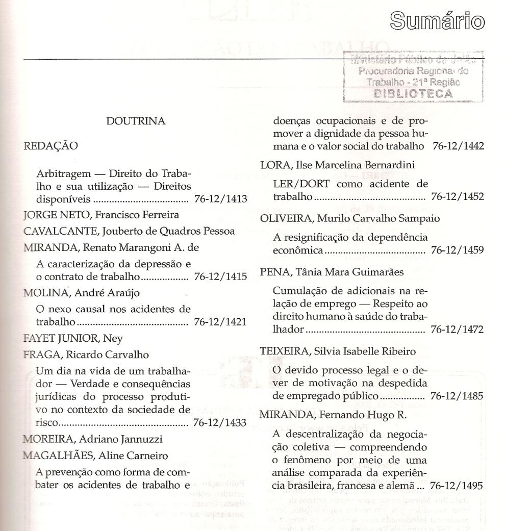 LTr nº 12.20120001