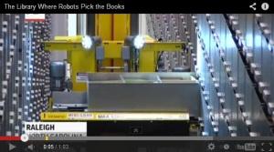 biblioteca com robôs
